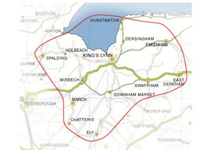 Map of Area Covered by Attain2Gain First Aid Courses Lincolnshire, Norfolk, Cambridgeshire